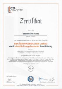 Zertifikat Lizenz Ernährungsberater Nachweis Ernährungsberater Lizenz staatlich anerkannte Ausbildung