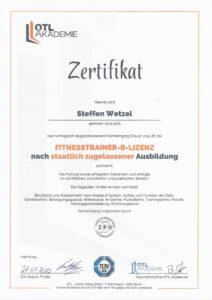 Zertifikat Nachweis Fitnesstrainer Buchholz